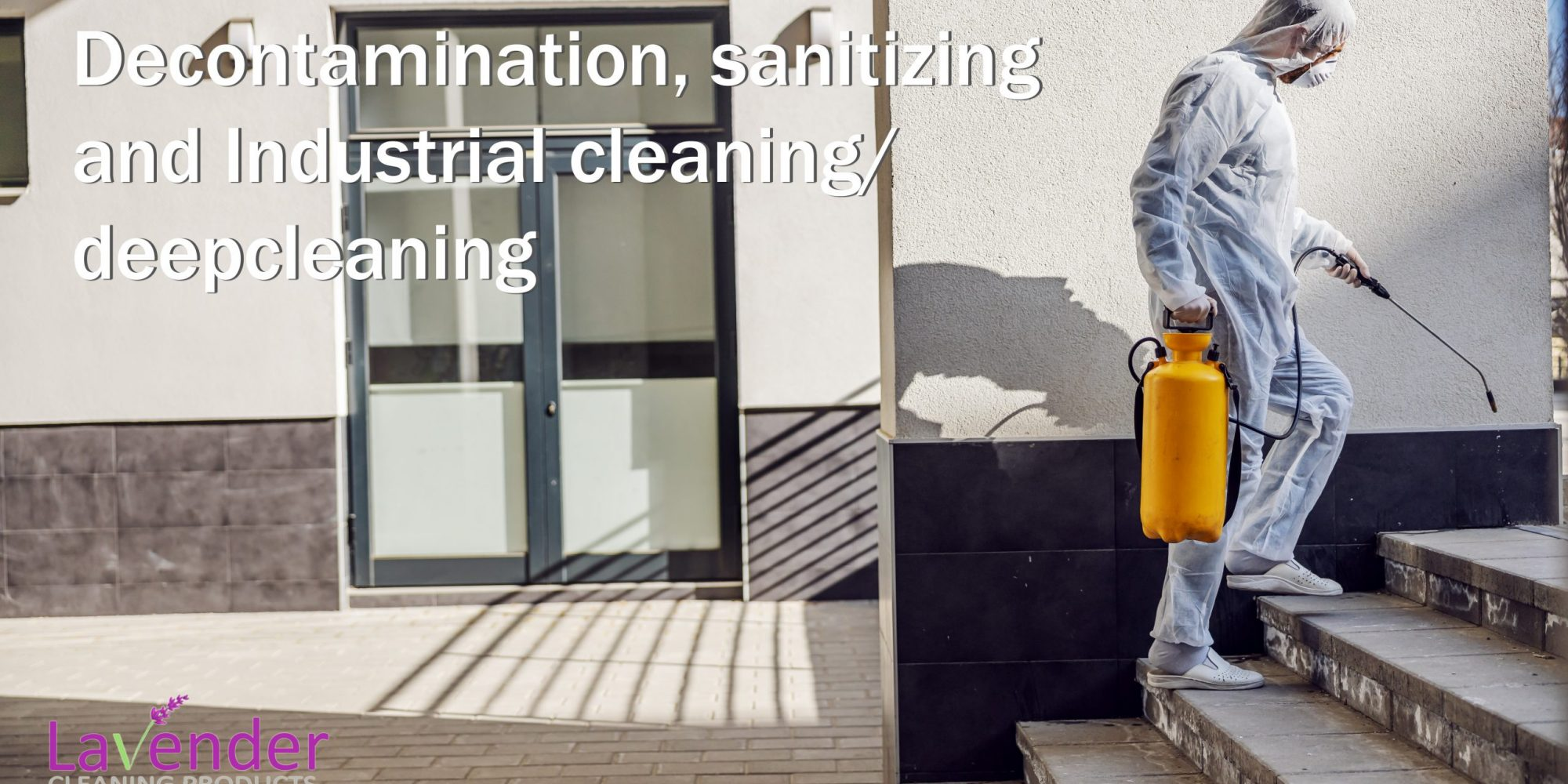 Cleaning and Disinfection outside around buildings, the coronavirus epidemic. Professional teams for disinfection efforts. Infection prevention and control of epidemic. Protective suit and mask.